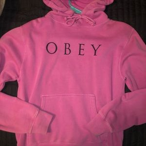 Pink obey hoodie